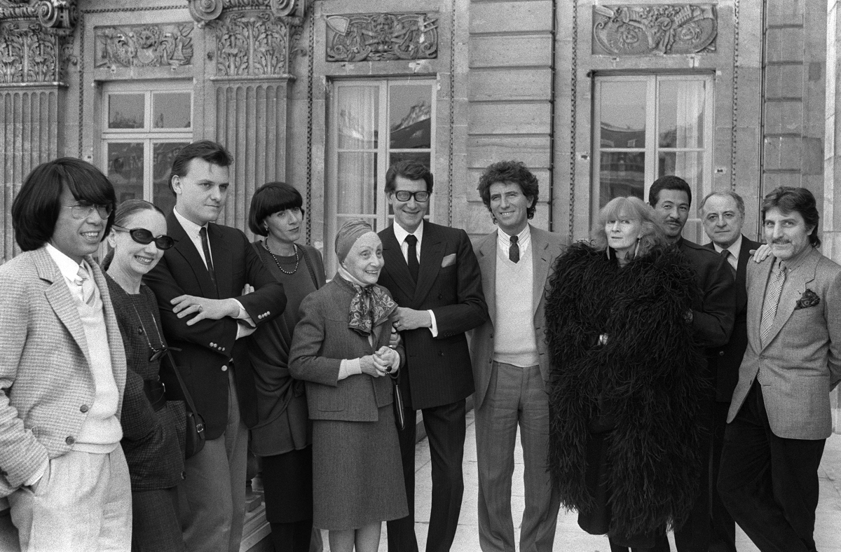 With French Minister of Culture Jack Lang along with Kenzo, Anne-Marie Beretta, Jean-Charles de Castelbajac, Chantal Thomass,