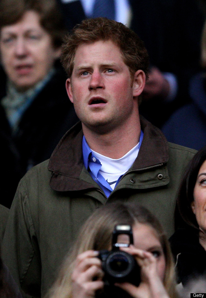 Prince Harry sings during the national anthem ahead of the RBS 6 Nations match between England and Ireland at Twickenham Stad