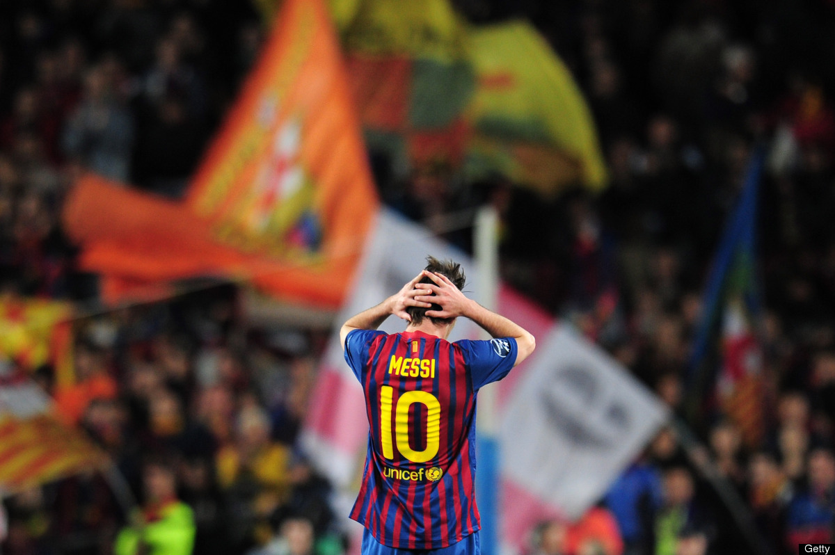 Lionel Messi of Barcelona reacts during the UEFA Champions League Semi Final, second leg match between FC Barcelona and Chels