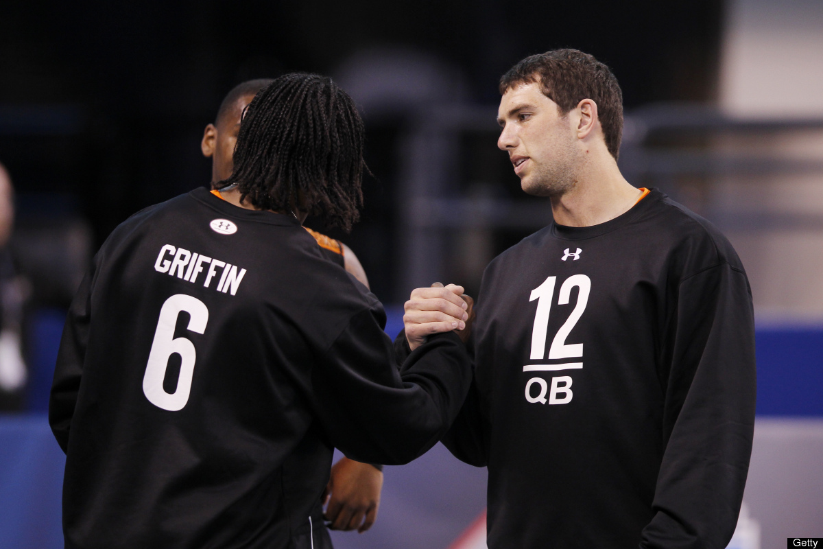 The first two picks will be quarterbacks: Andrew Luck of Stanford, who will go to the Colts, followed by Heisman Trophy winne