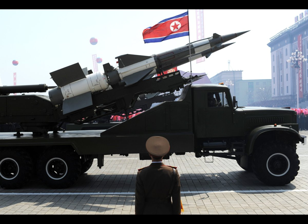 A missile is displayed during a military parade to mark 100 years since the birth of North Korea's founder Kim Il-Sung in Pyo