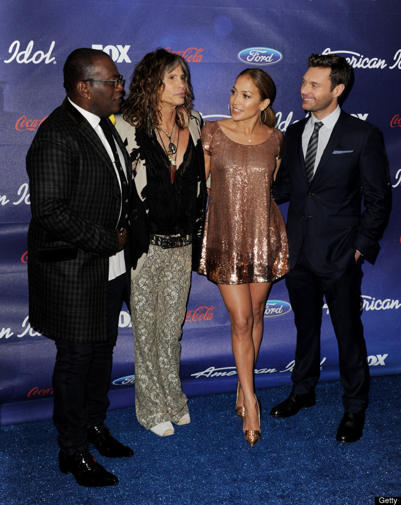 LOS ANGELES, CA - MARCH 01:  American Idol judges Randy Jackson, Steven Tyler, Jennifer Lopez and host Ryan Seacrest arrive a