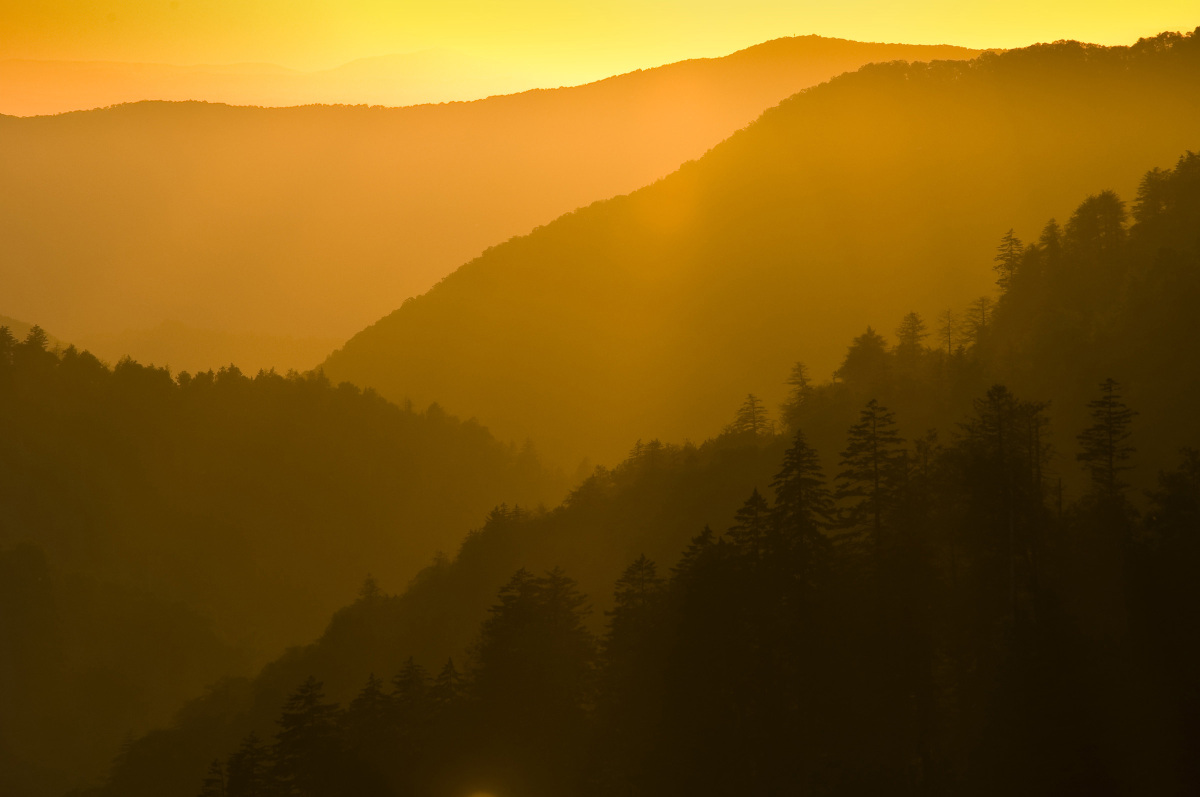 """""""I caught this beautiful sunset at Morton's Overlook at the Great Smoky Mountains. Even though it was under construction, the"""