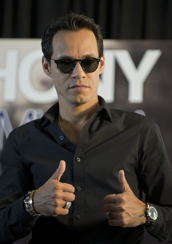 US singer Marc Anthony gestures during a press conference in Mexico City, on October 21, 2013. Anthony is in Mexico to presen
