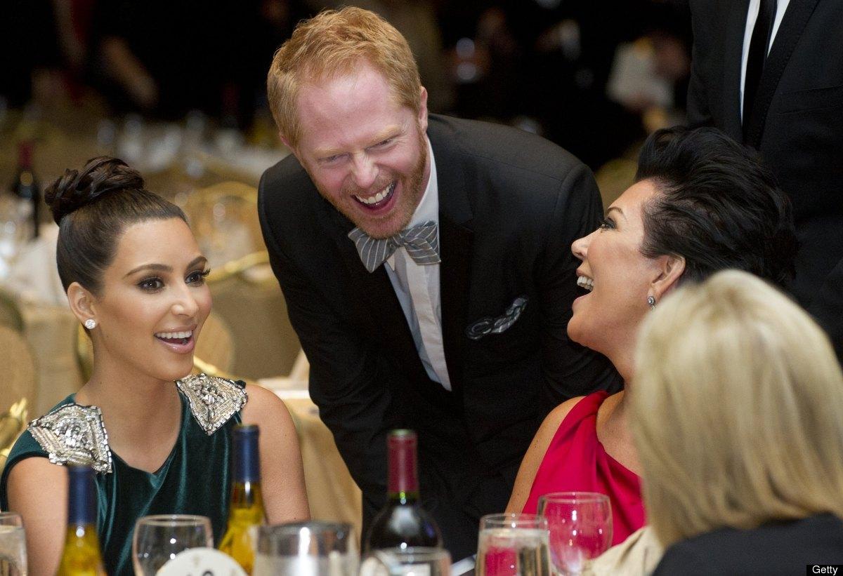 Kris Jenner (R), Kim Kardashian (L) and actor Jesse Tyler Ferguson (C) attend the White House Correspondents Association Dinn