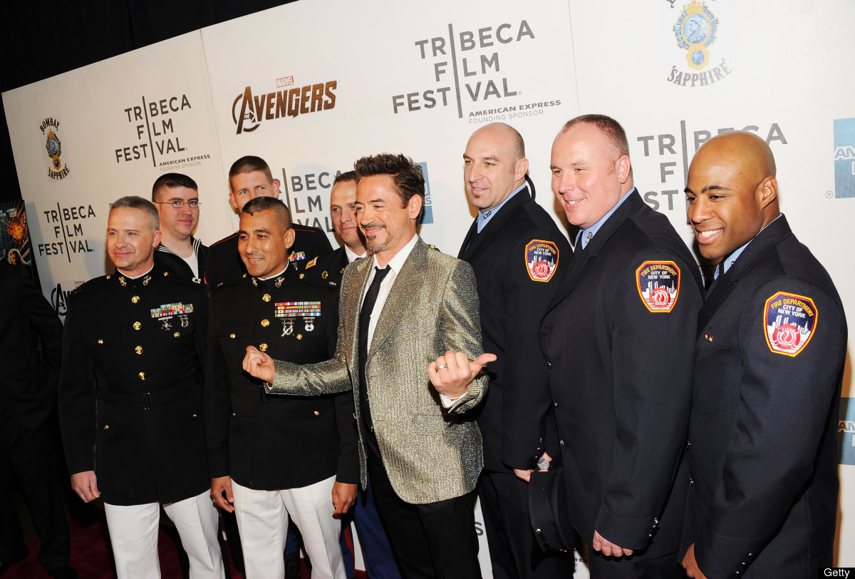 Robert Downey Jr. (C) attends the 'Marvel's The Avengers' Premiere during the 2012 Tribeca Film Festival at the Borough of Ma
