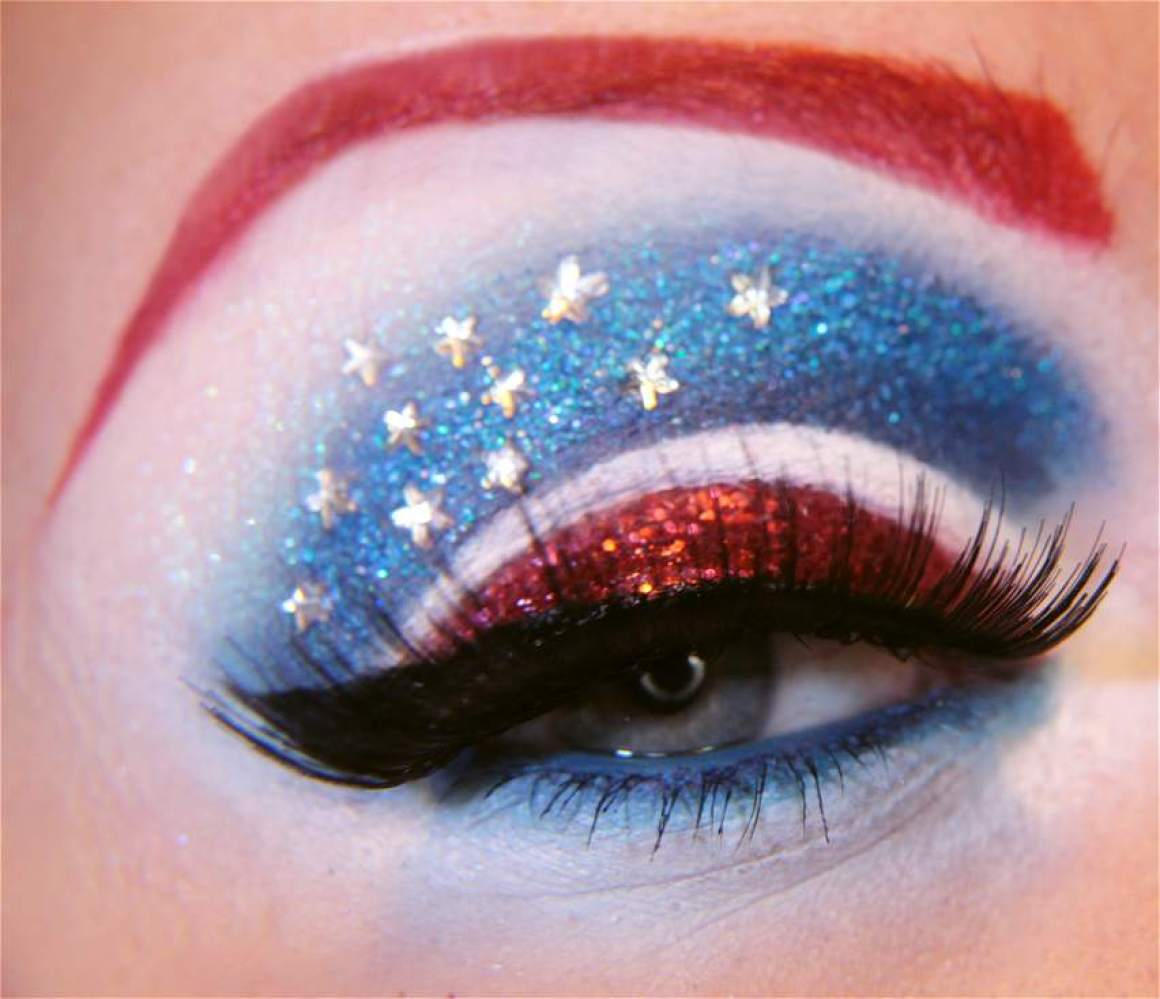 """""""Heroes, fluttering flags, stars and stripes. That's what Captain America represents, and hopefully so does this makeup."""""""