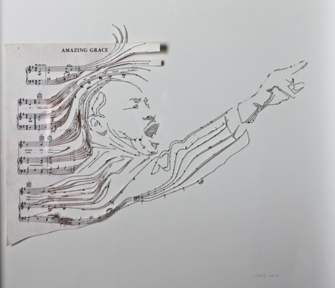 "Erika Iris Simmons, ""Amazing Grace"", Sheet Music, 18 by 15 inches, 2012."