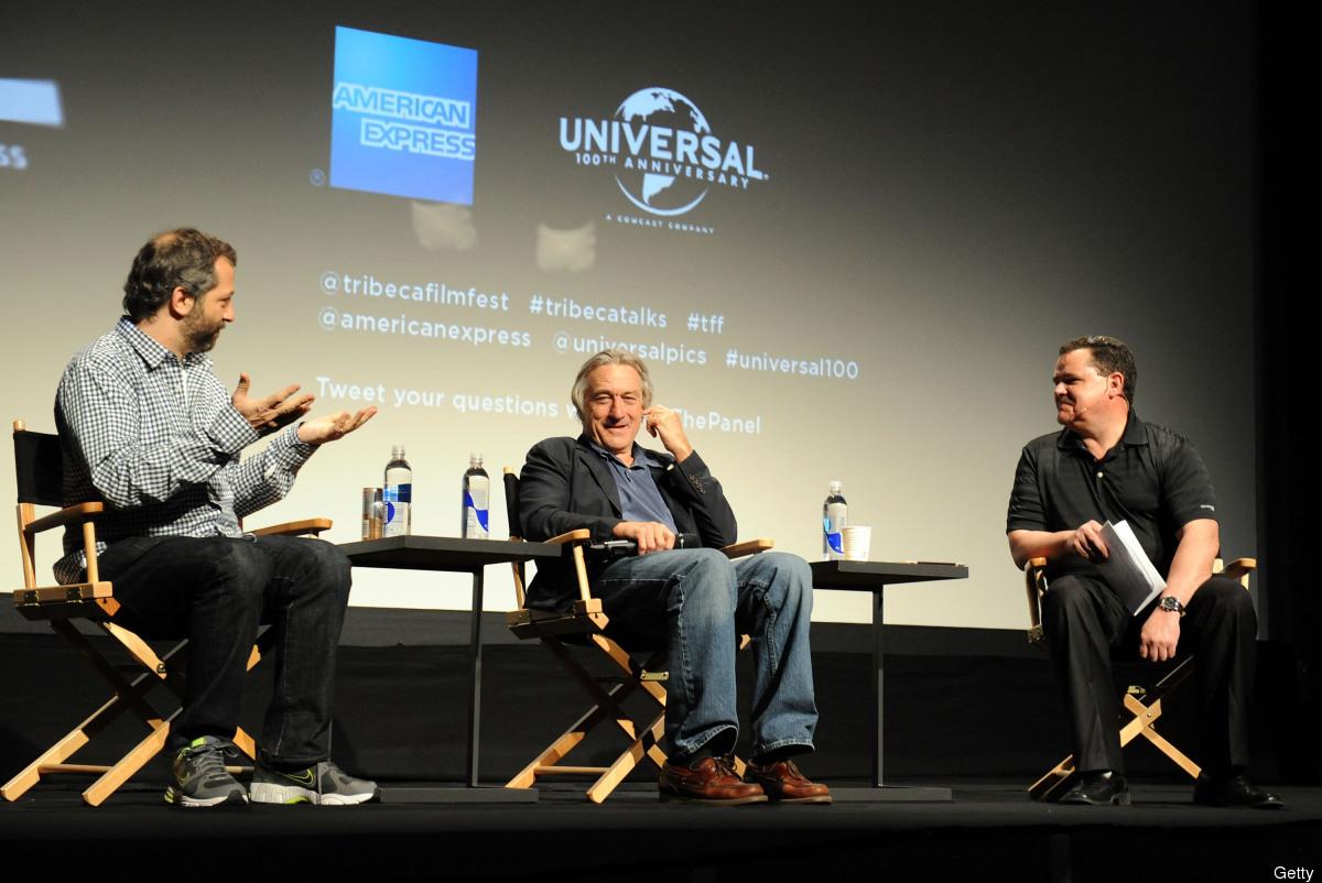Filmmaker Judd Apatow, Robert De Niro, Co-Founder Tribeca Film Festival and moderator Mike Fleming of Deadline Hollywood spea