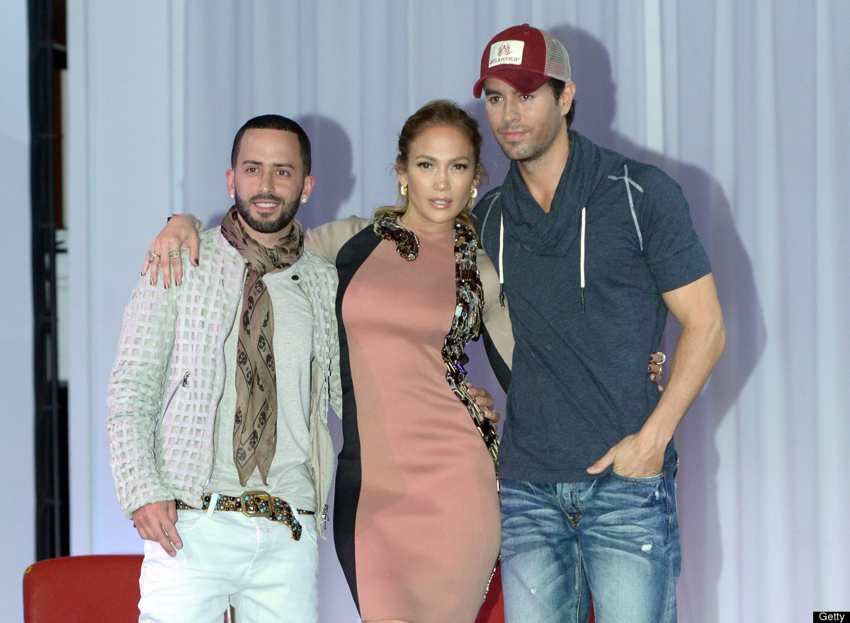 HOLLYWOOD, CA - APRIL 30:  Singers Yandel, Jennifer Lopez and Enrique Iglesisas announce their Summer Tour at Boulevard3 on A