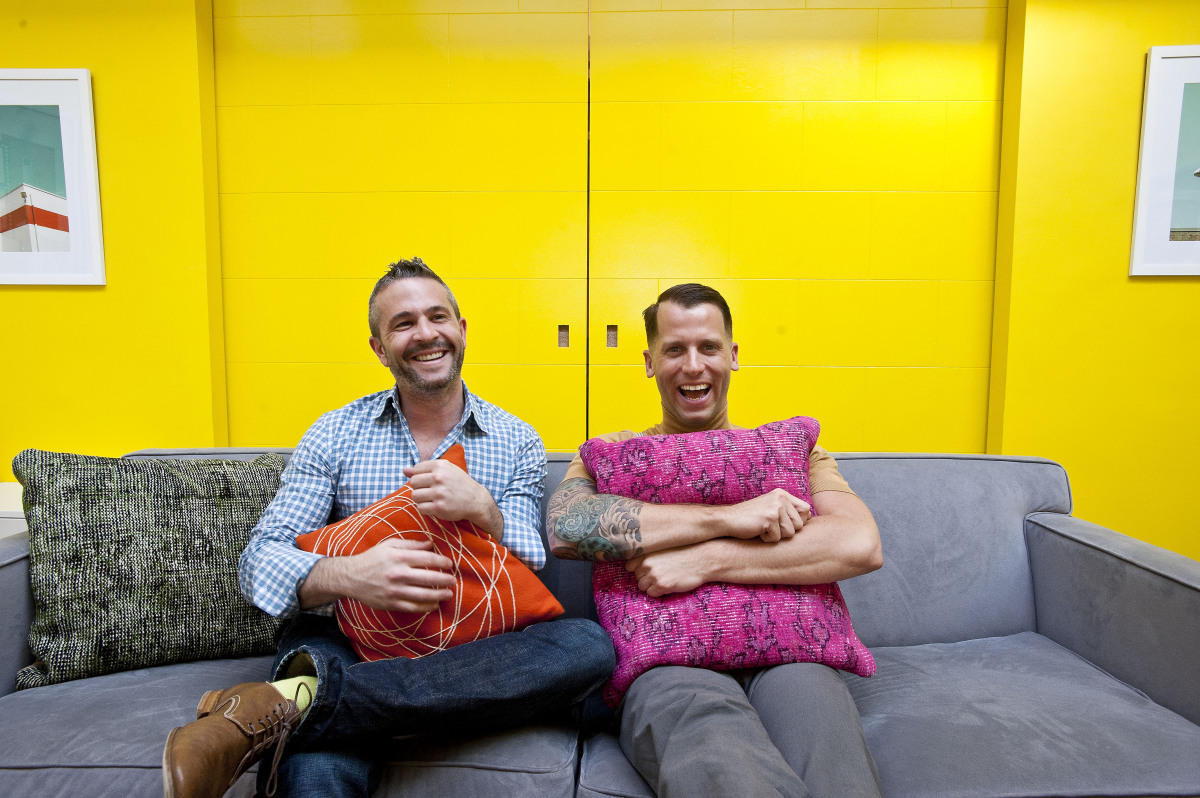 Fab.com co-founders Jason Goldberg, left, and Bradford Shellhammer relax at the startup's brand-new Manhattan headquarters on
