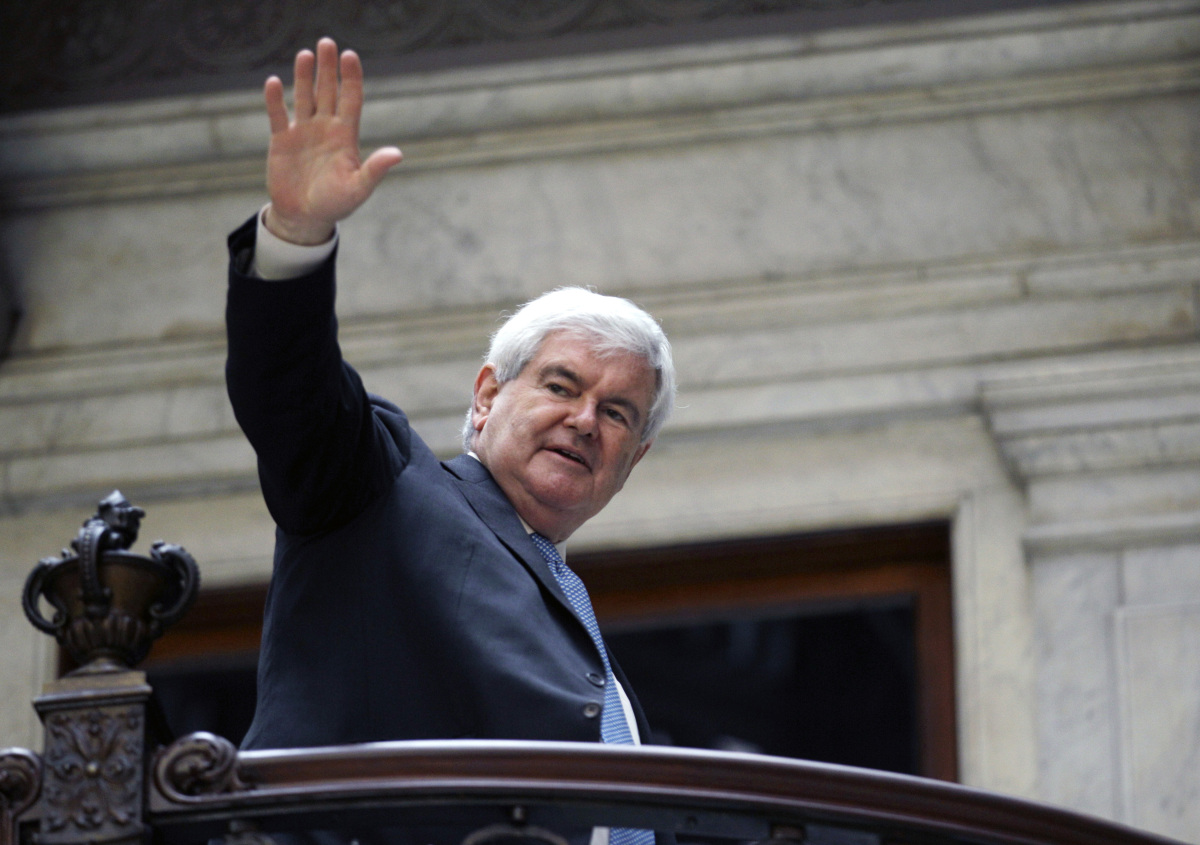 """Speaking the day before the Delaware primary, Gingrich <a href=""""http://www.huffingtonpost.com/2012/04/23/newt-gingrich-end_n_"""