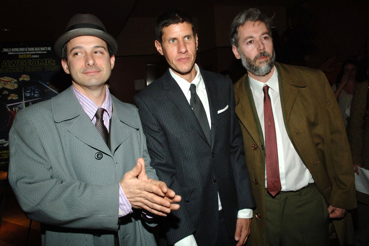 NEW YORK - MARCH 28: (L-R) Adam Horovitz, Mike Diamond, and Adam Yauch of the Beastie Boys arrive to Think Film's premiere of
