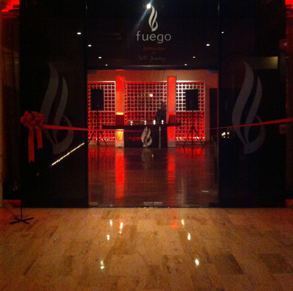 The entrance to Fuego Gastro Bar at Paradisus Punta Cana on the restaurant's opening night. The interior is trendy, modern an