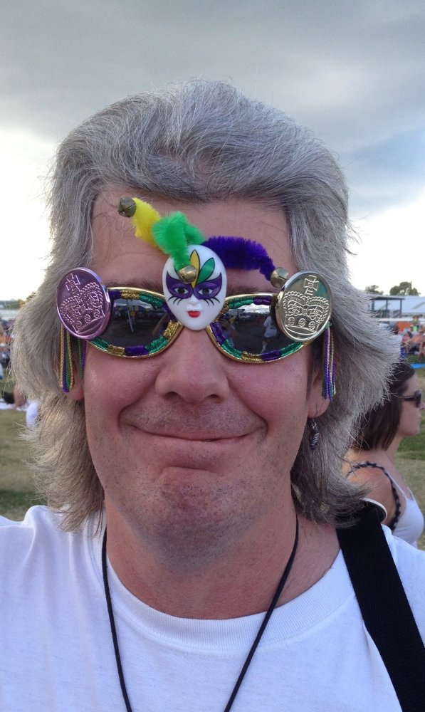 Sunglasses with a touch of Mardi Gras.