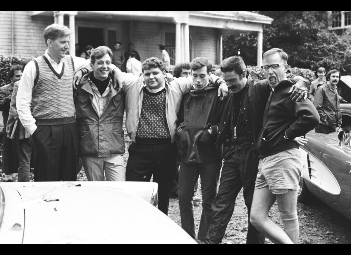 Left to right:  Hoover (Jamie Widdoes), Hardbar (Chris Miller), Flounder (Stephen Furst), Pinto (Tom Hulce), D Day (Bruce McG