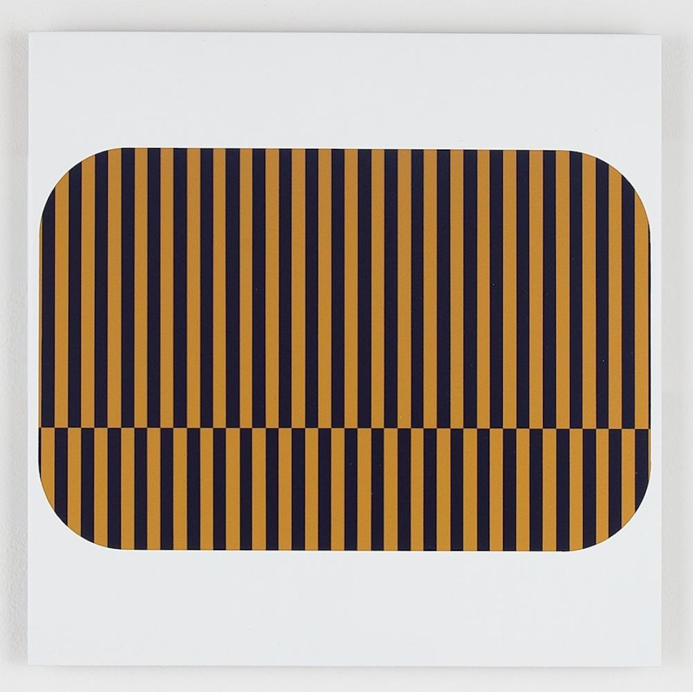 "Vessel (B, G stripe), 2012 Composite finishes on aluminum 12"" x 12"""