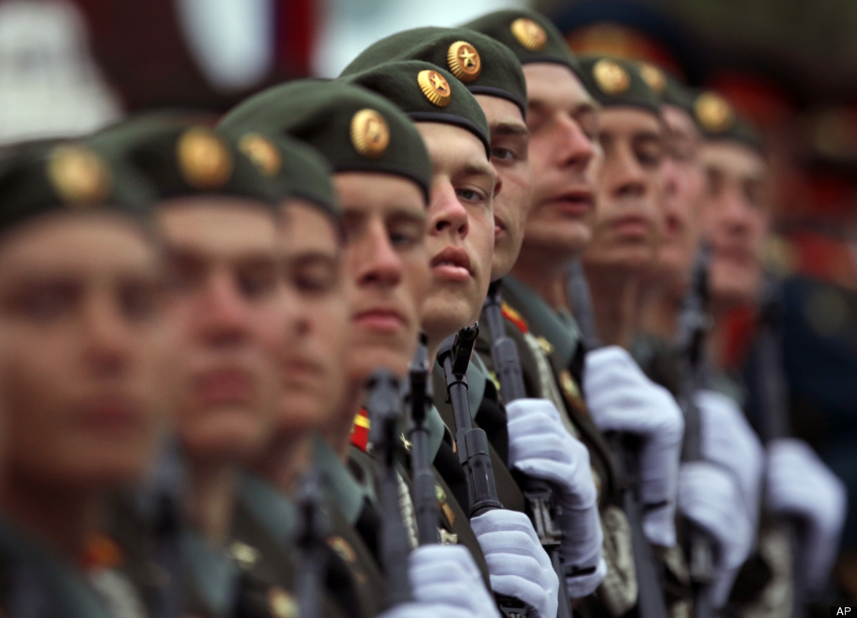 Russian soldiers march on the Red Square, during the Victory Day Parade, which commemorates the 1945 defeat of Nazi Germany i