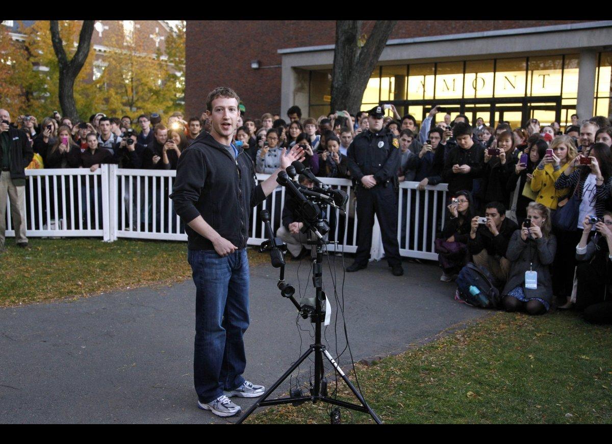 Mark Zuckerberg speaks to reporters at Harvard University in Cambridge, Massachusetts.  (AP Photo/Steven Senne)