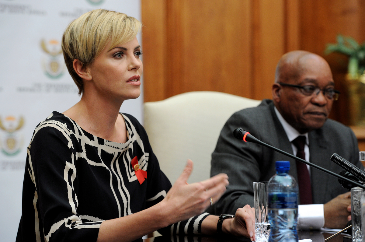 South African-born Hollywood actress and UN Messenger of Peace Charlize Theron speaks during a press conference, alongside So