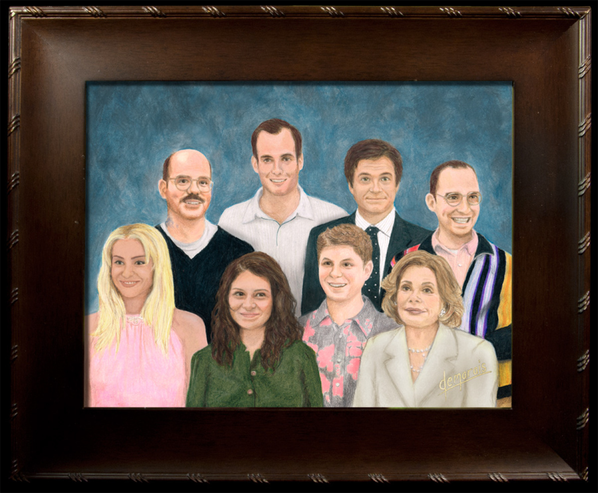 "Kirk Demarais, ""The Bluths"", Colored Pencil, 11"" x 14"", 2012, For Gallery1988 (Venice Beach) show of new work by Kirk Demarai"