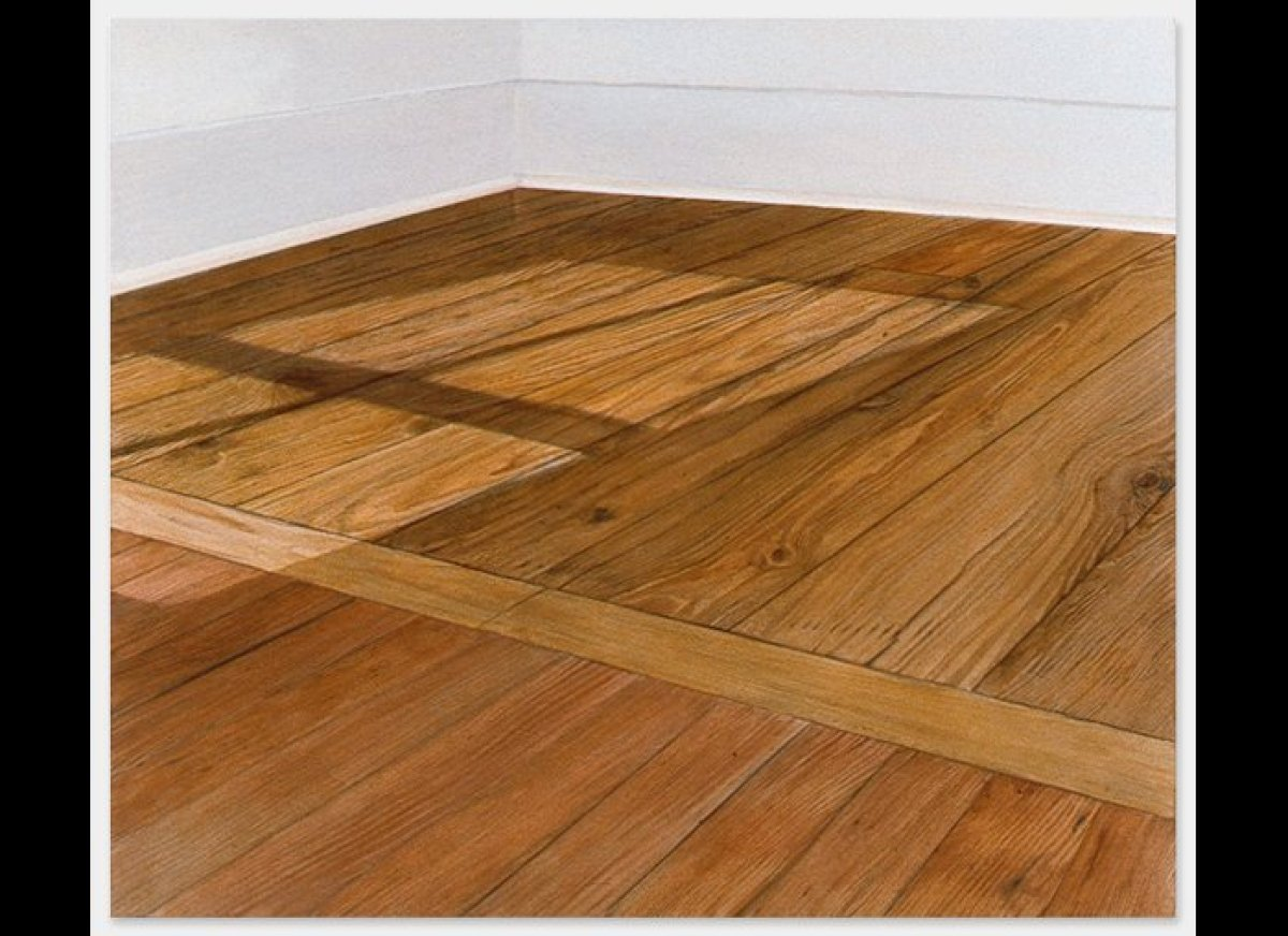 <em>Sylva Plimack-Mangold, Floor with Light at 10:30 am, 1972, acrylic on canvas, 52 x 61 inches (courtesy Alexander and Boni