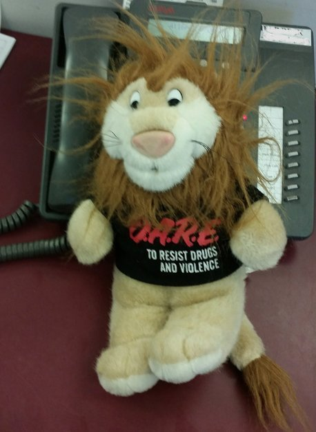 One New York men allegedly tried to pull a fast one by hiding drugs inside a stuffed lion wearing a D.A.R.E. (Drug Abuse Resi