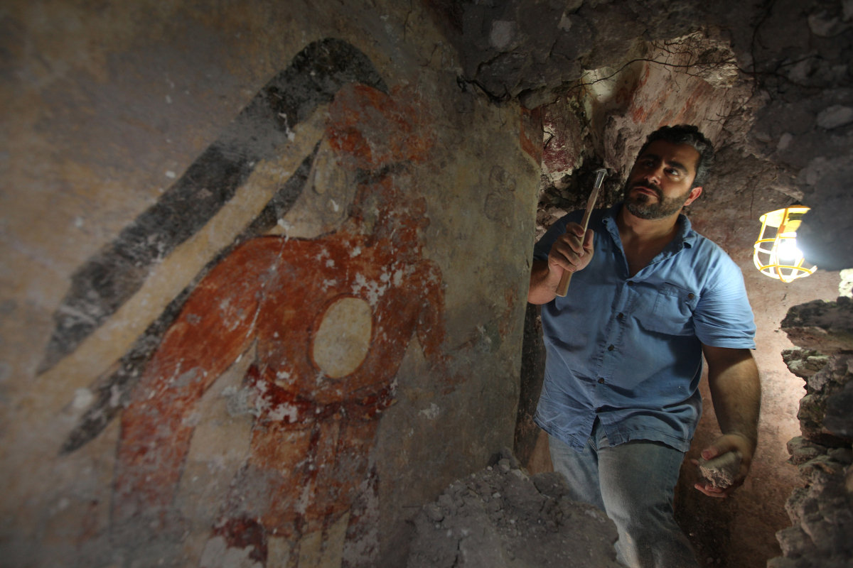 """""""Younger Brother Obsidian,"""" as labeled on the north wall of the Maya city's house by an unknown hand, was painted in the 9th"""