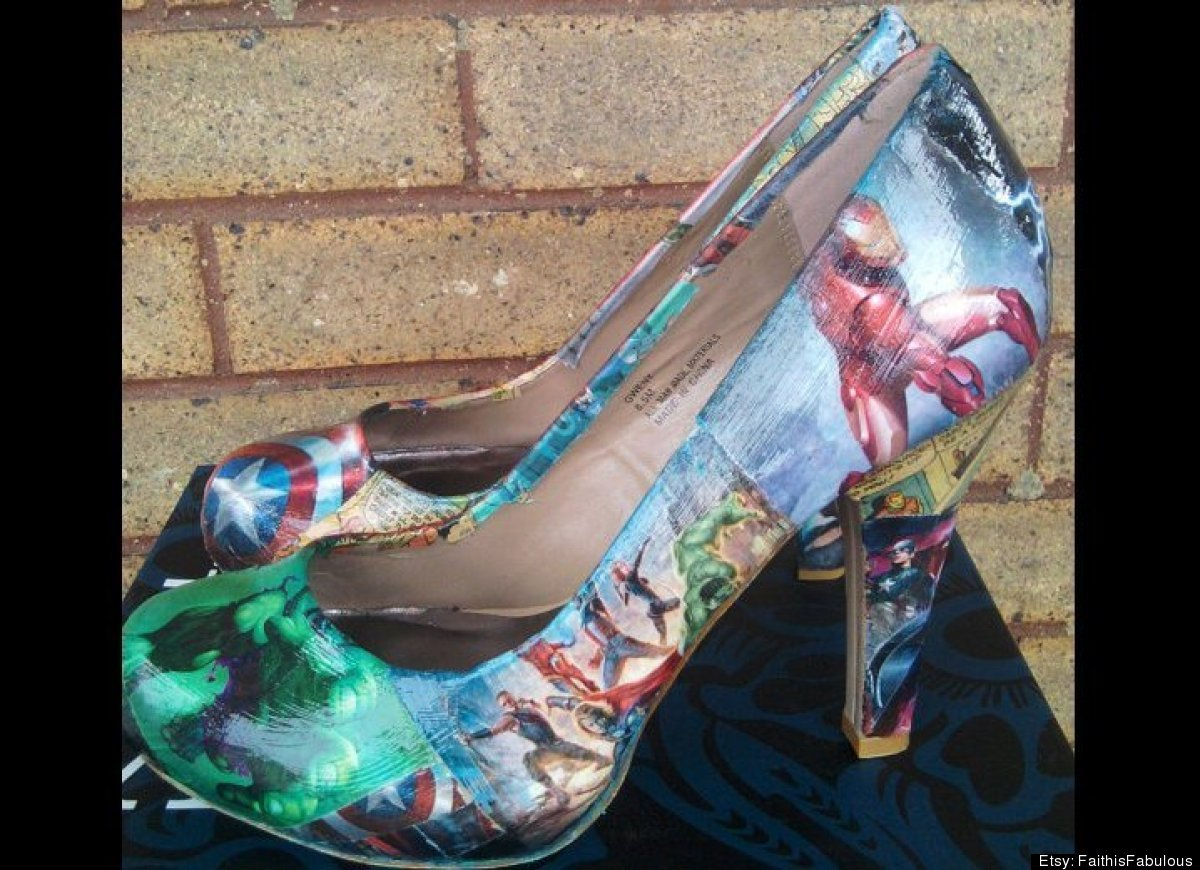 "Add some superhero chic to the basic heel with these awesome graphic <a href=""http://www.etsy.com/listing/98680858/avengers-c"