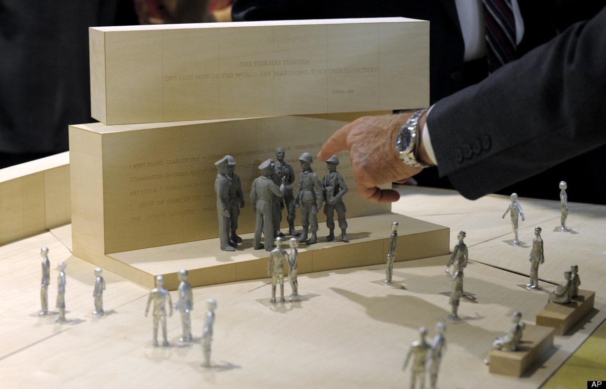 Architect Frank Gehry's model of the Eisenhower Memorial is viewed in on Capitol Hill in Washington, Tuesday, May 15, 2012, b