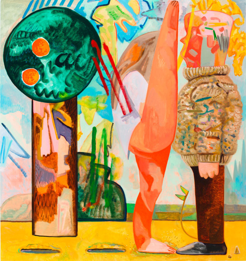 DANA SCHUTZ Hop 2012 Oil on canvas 96 x 90 inches 243.8 x 228.6 cm