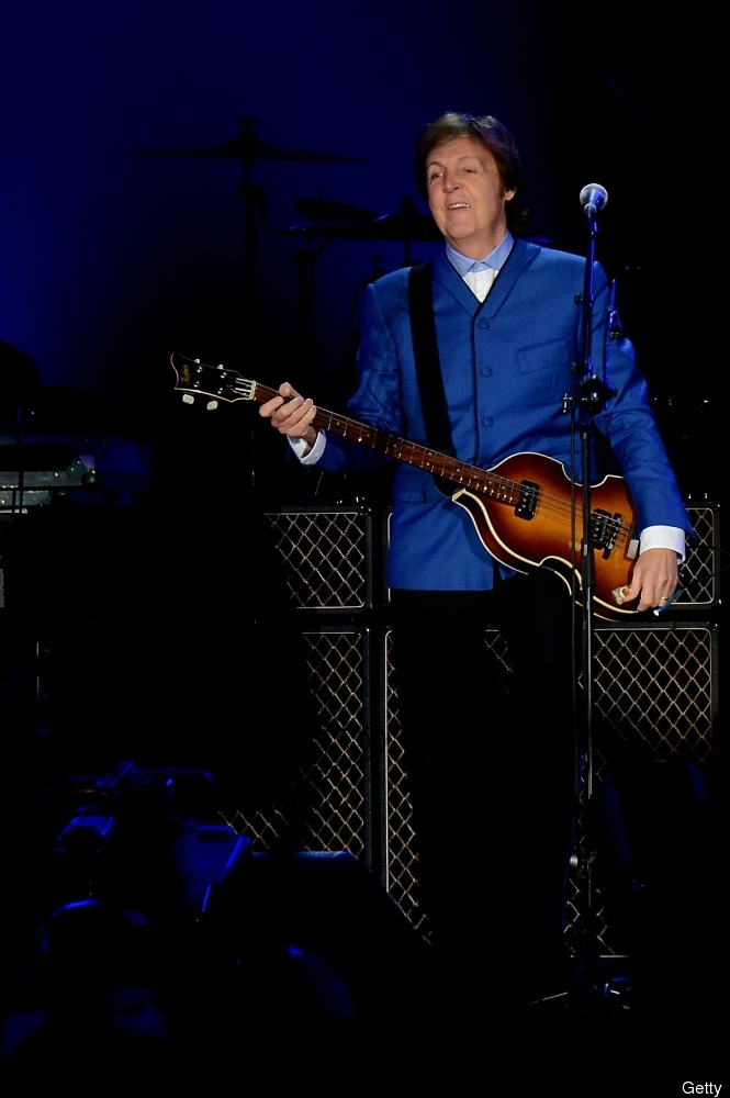 Britain's musician Paul Mc Cartney performs at the Centenario stadium in Montevideo, beginning his Latin American tour on Apr