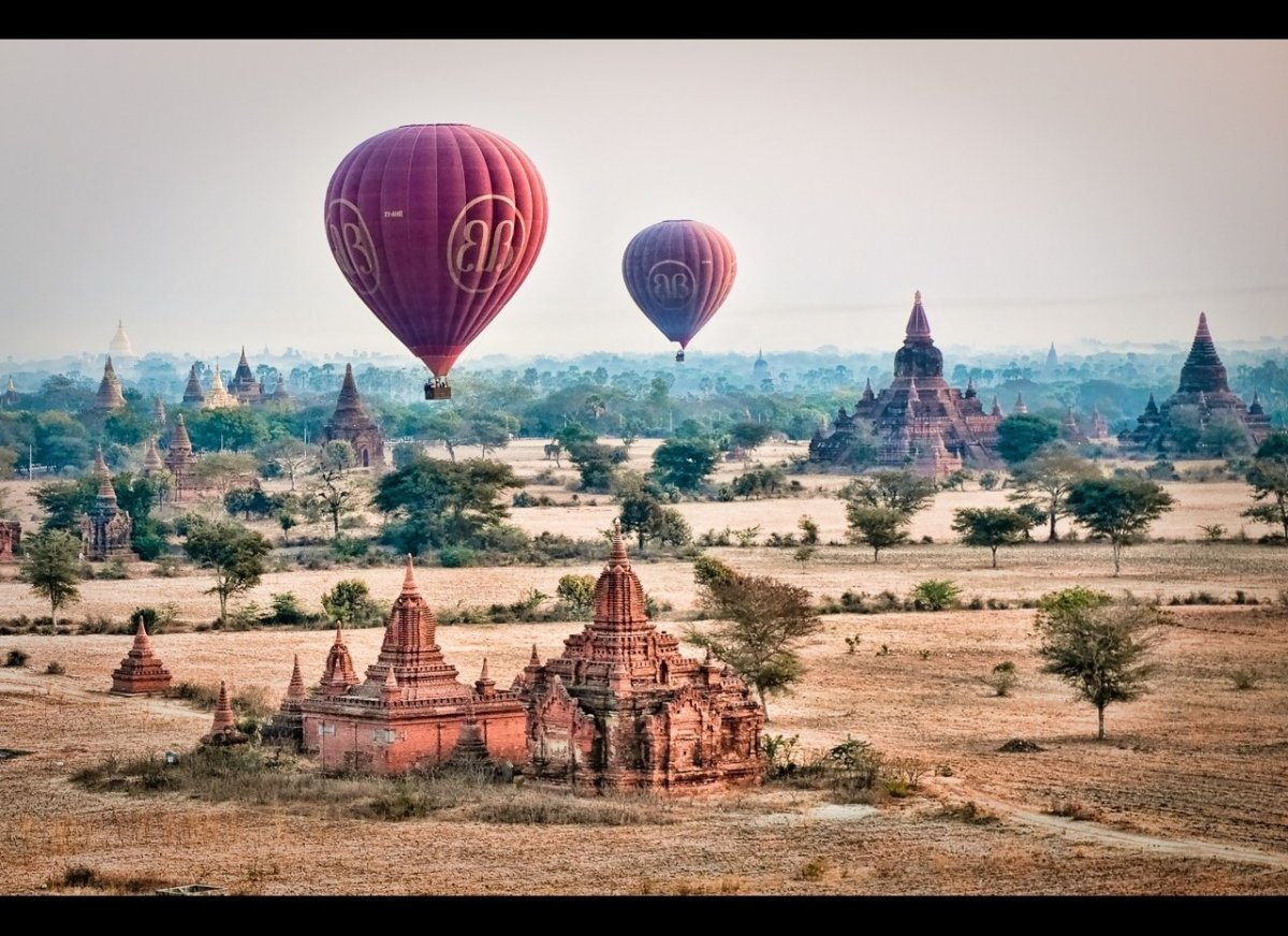 Balloons soar over the pagodas of Bagan.  I took this shot from the third balloon.