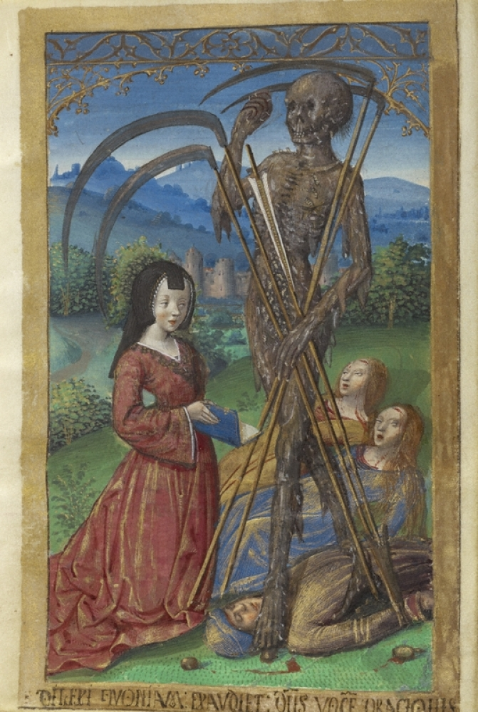 'Denise Poncher before a Vision of Death.' Master of the Chronique scandaleuse (about 1493 - 1510), about 1500, French, tempe