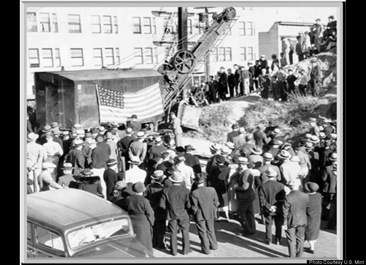 Crowd gathered at construction site of new U. S. Mint building at the corner of Buchanan and Hermann Streets, August 21, 1935