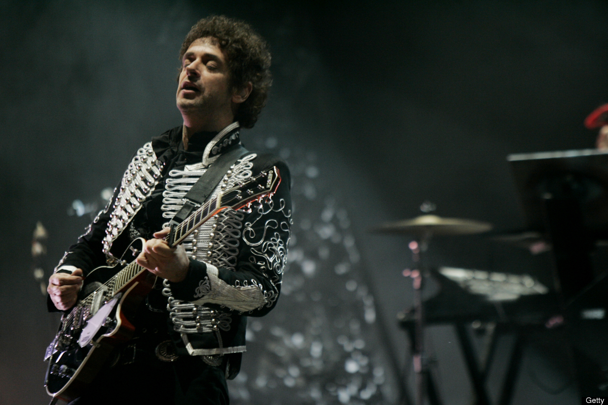 (FILE) Argentine musician Gustavo Cerati performs during his last show before he went into coma, in Caracas, on May 15, 2010.
