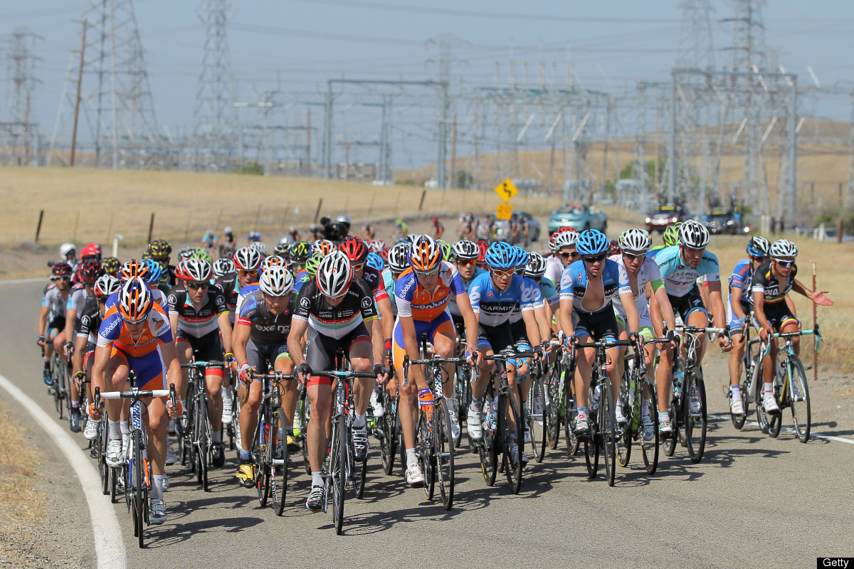 LIVERMORE, CA - MAY 15:  The peloton begins the climb of Patterson Pass during stage three of the Amgen Tour of California fr