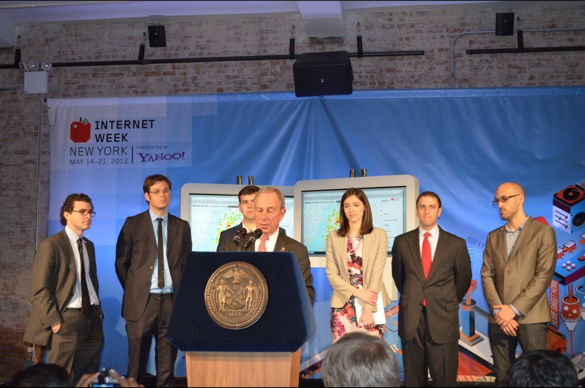 """New York Mayor Michael Bloomberg at a May 15, 2012 event announcing the city's new """"<a href=""""http://mappedinny.com/"""" target="""""""