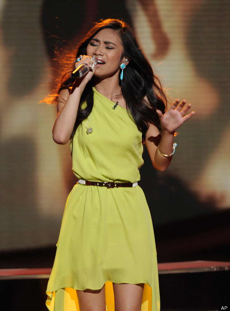 "In this April 25, 2012 photo released by Fox, contestant Jessica Sanchez performs on the singing competition series ""American"