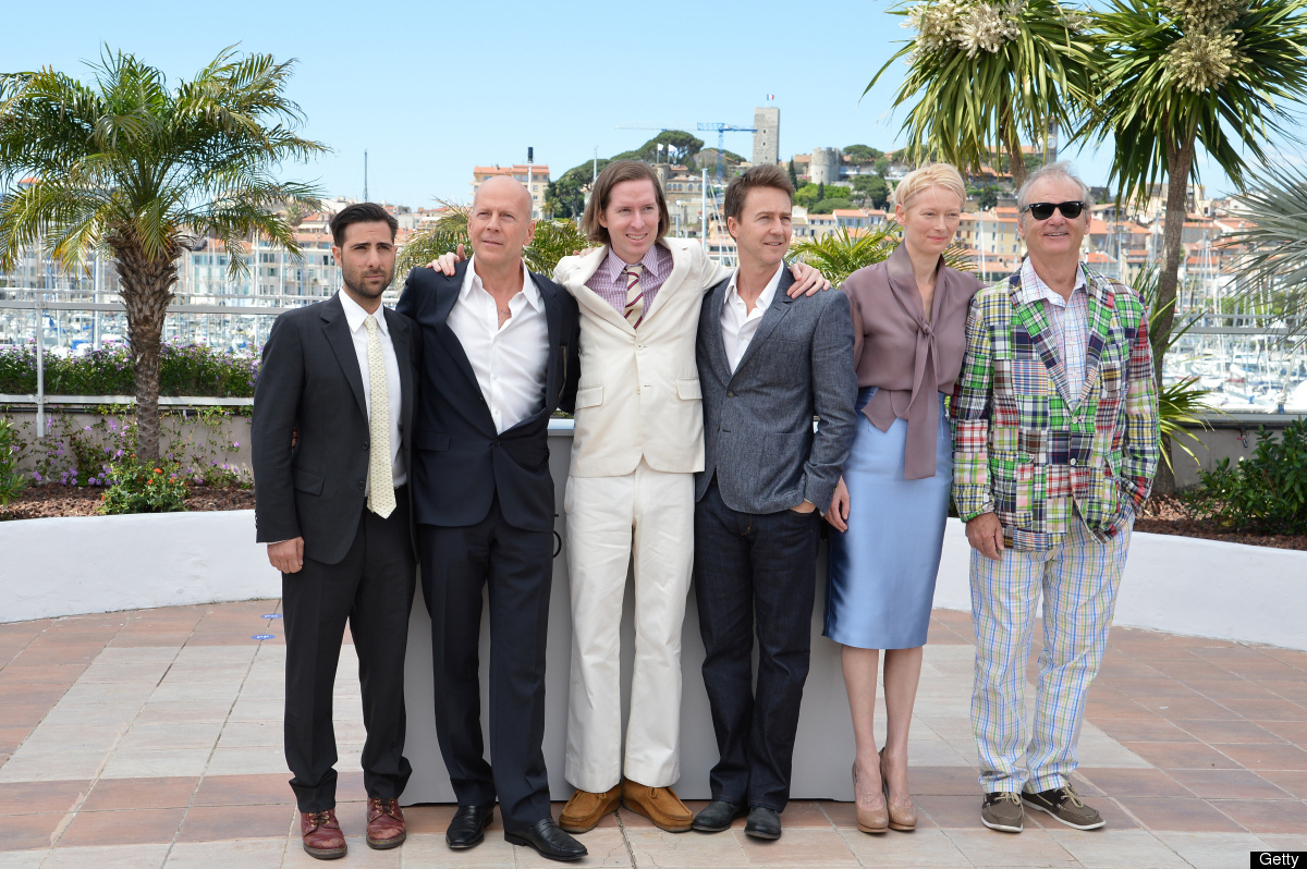 US actor Jason Schwartzman, US actor Bruce Willis, US director Wes Anderson, US actor Edward Norton, British actress Tilda Sw