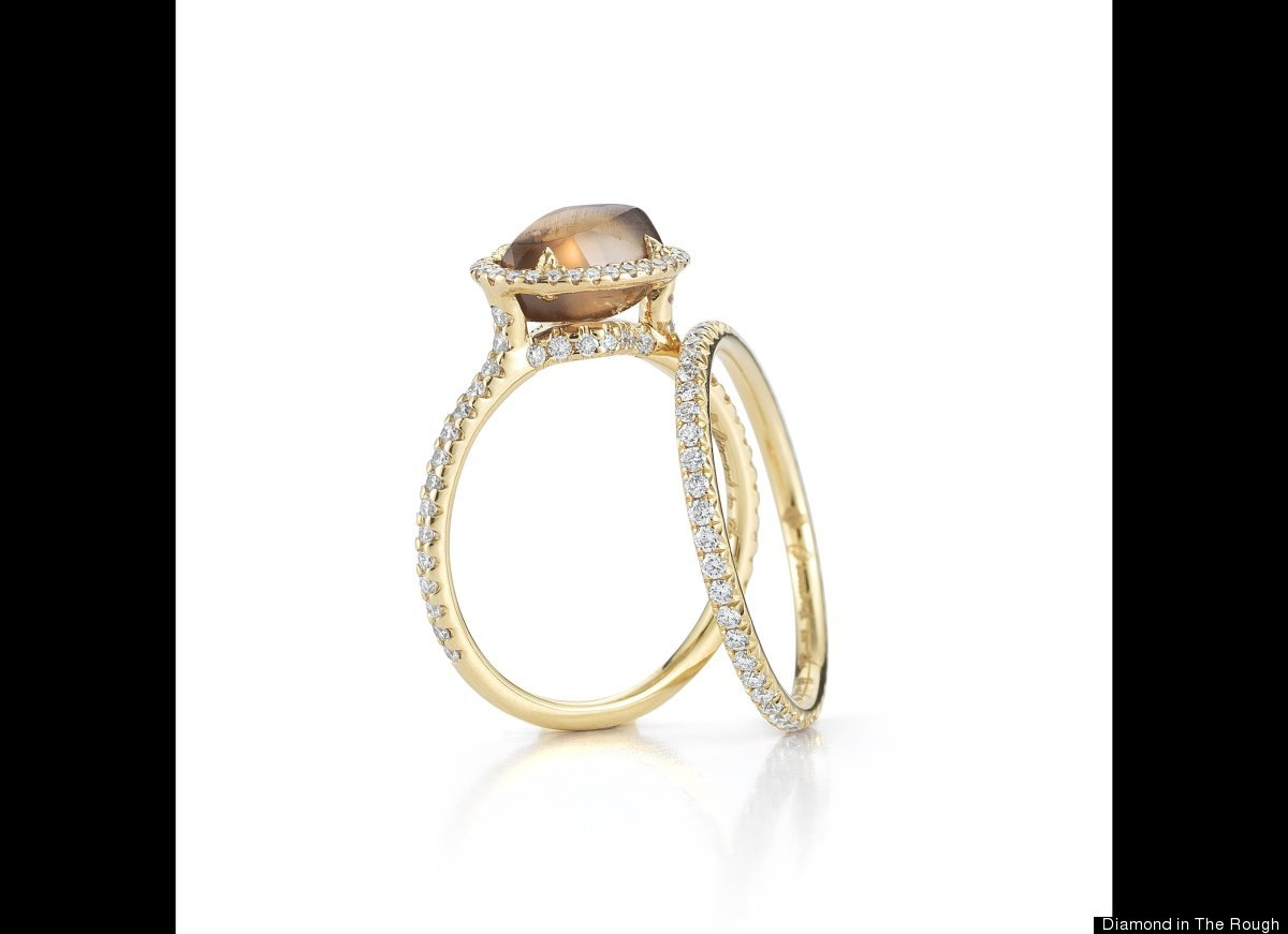 Classic ring featuring 2.36 carat cognac rough diamond in 18k yellow gold