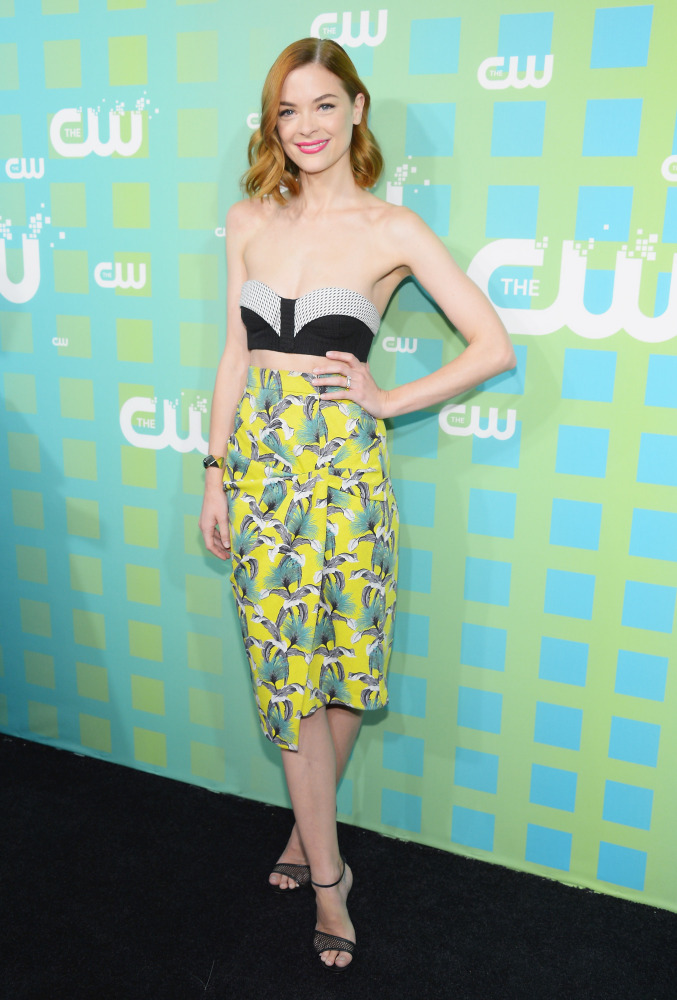 Jaime's bandeau top looks a wee bit too small (and threatened by gravity!) at Thursday's CW Networks' upfronts.  (Getty pho