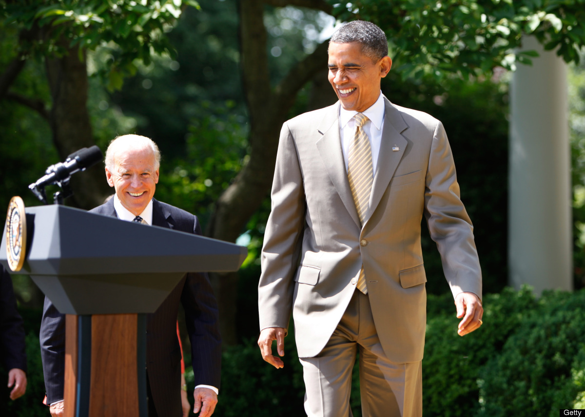 US President Barack Obama and Vice President Joe Biden arrive to honor the 2012 National Association of Police Organizations