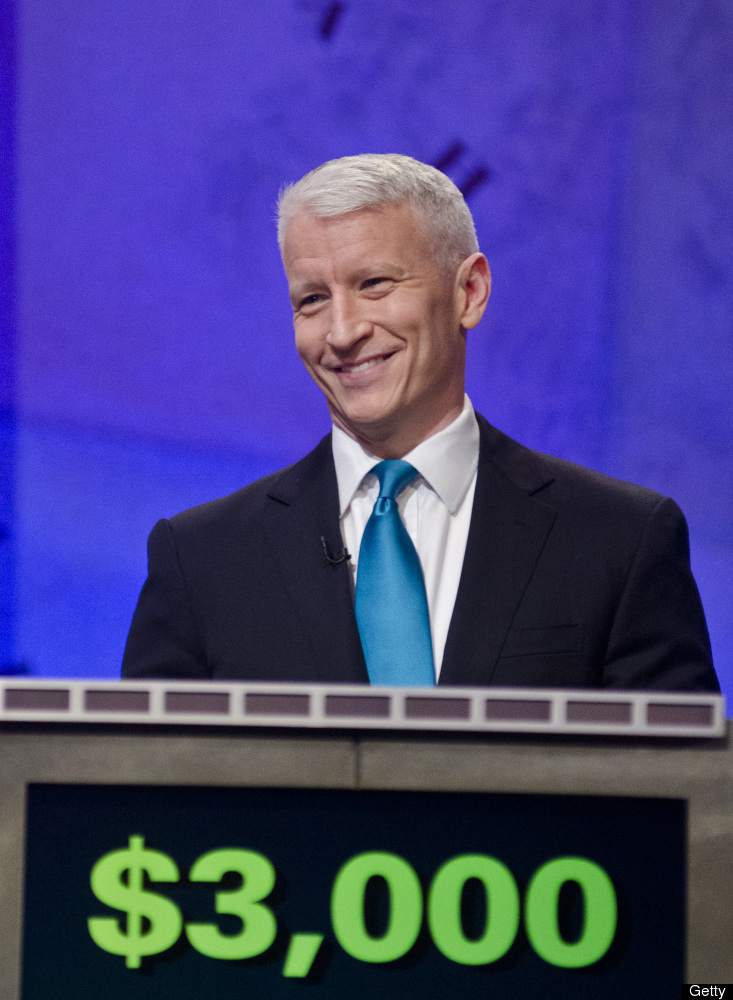 WASHINGTON, DC - APRIL 21: Anderson Cooper speaks during a rehearsal before a taping of Jeopardy! Power Players Week at DAR C