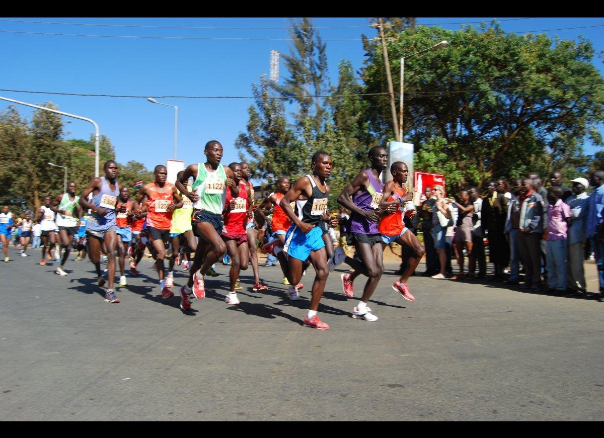 The leaders in the Eldoret half-marathon in Kenya.