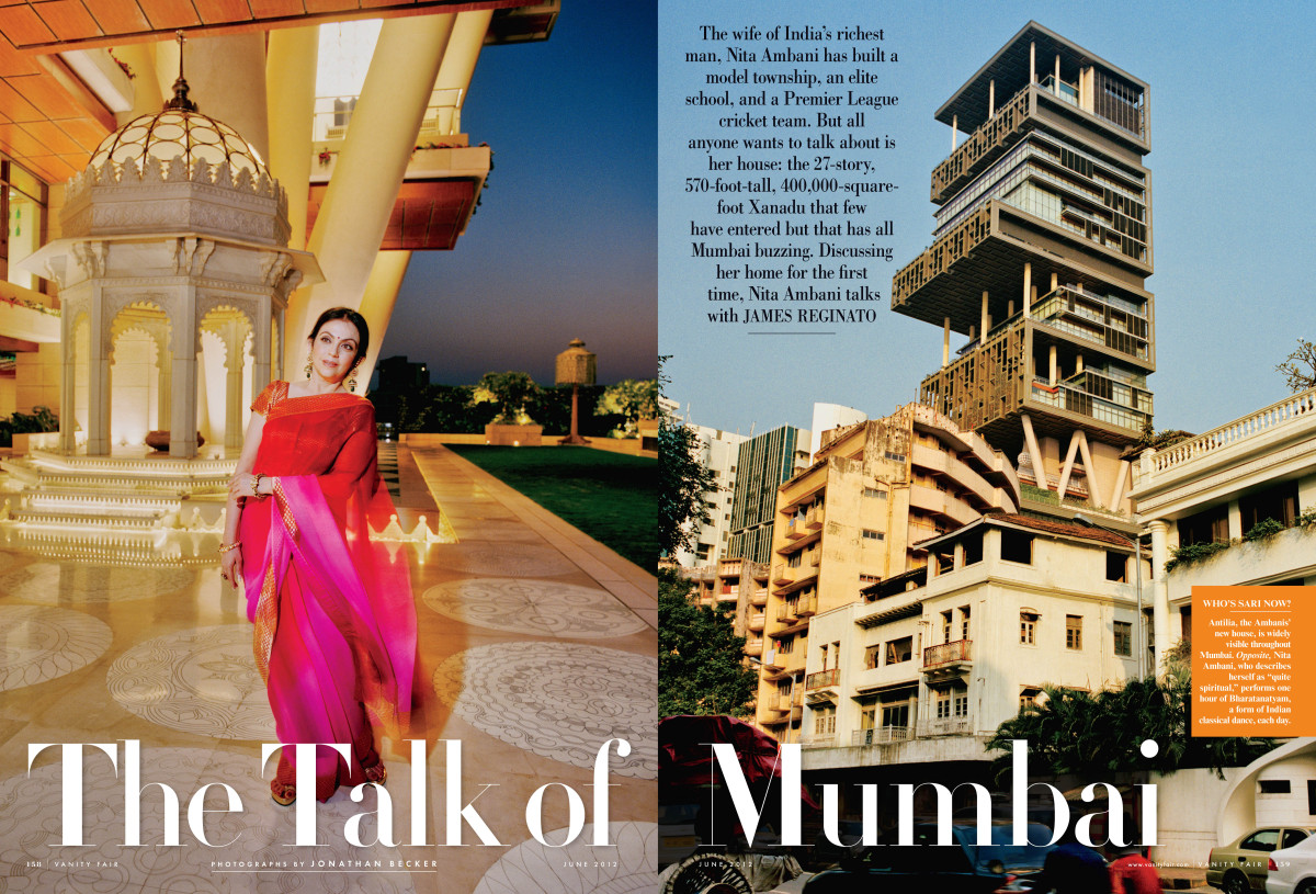 "Nita Ambani talks about her 27-story 400,000 sq. foot, $1B home in the <a href=""http://www.vanityfair.com/society/2012/06/amb"