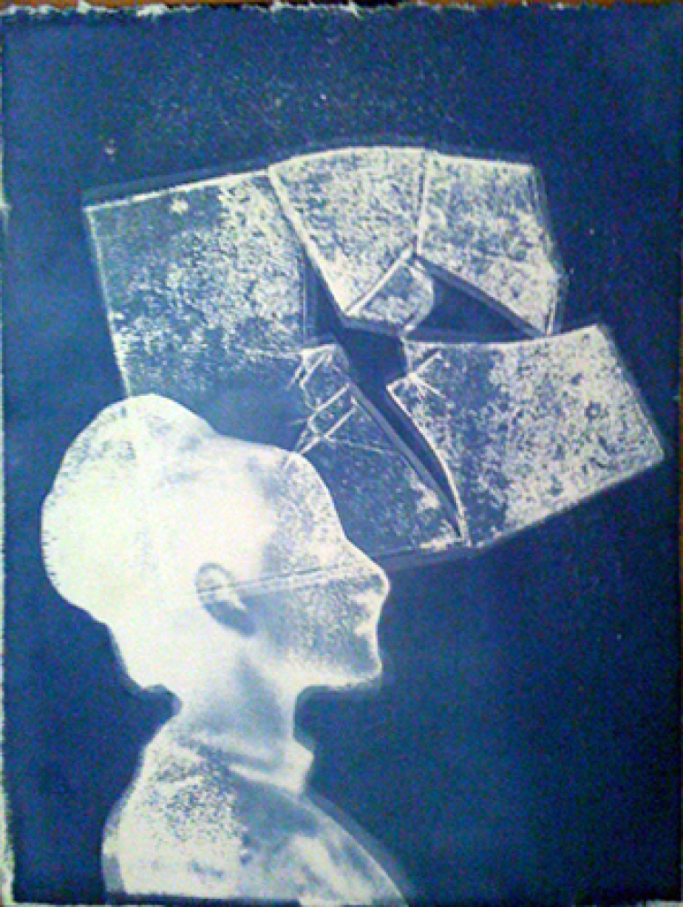 Ofri Cnaani, Blue Print 1, 2012, Cyanotype, 16 x 13 inches, Courtesy of Andrea Meislin Gallery