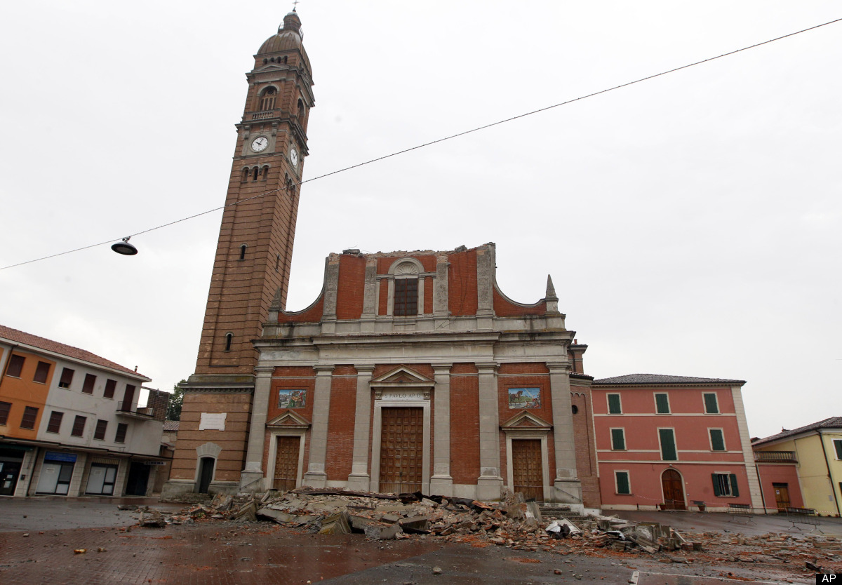 he San Paolo Church partially destroyed is seen in Mirabello, Italy, Sunday, May 20. 2012. A magnitude-5.9 earthquake shook n