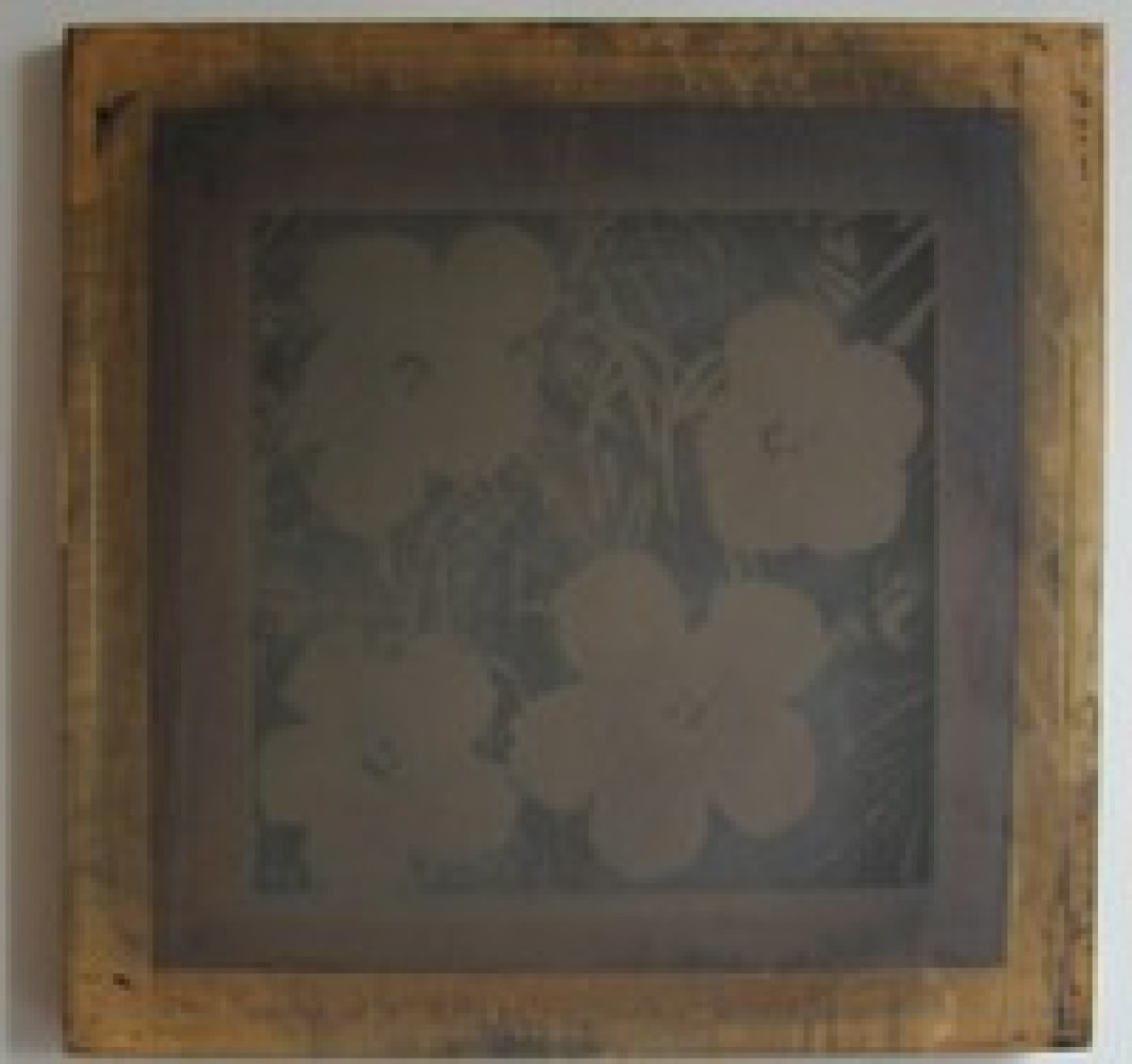 """Silkscreen for """"Flowers"""" print by Andy Warhol, mid-1960s. Photo on silkscreen."""