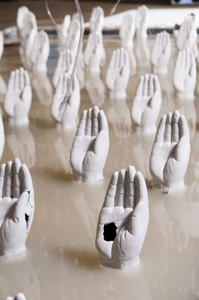 Prune Nourry, Holy Water, clay, water and IV bags, 2012, Holy River exhibition detail installation shot, May, 2012, image © J